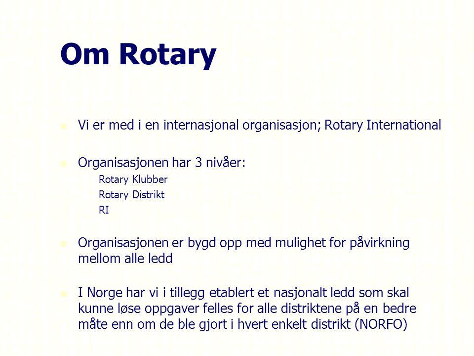 Om Rotary Vi er med i en internasjonal organisasjon; Rotary International Organisasjonen har 3 nivåer: – –Rotary Klubber – –Rotary Distrikt – –RI Organisasjonen er bygd opp med mulighet for påvirkning mellom alle ledd I Norge har vi i tillegg etablert et nasjonalt ledd som skal kunne løse oppgaver felles for alle distriktene på en bedre måte enn om de ble gjort i hvert enkelt distrikt (NORFO)