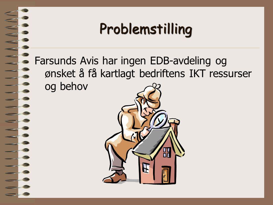 Problemstilling Farsunds Avis har ingen EDB-avdeling og ønsket å få kartlagt bedriftens IKT ressurser og behov