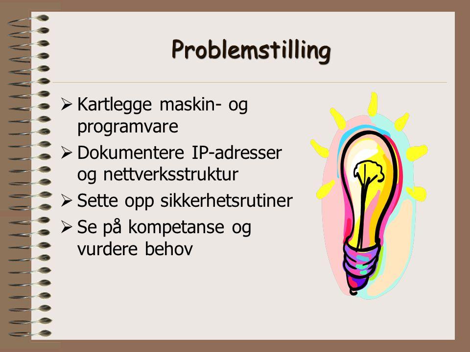Problemstilling  Kartlegge maskin- og programvare  Dokumentere IP-adresser og nettverksstruktur  Sette opp sikkerhetsrutiner  Se på kompetanse og vurdere behov