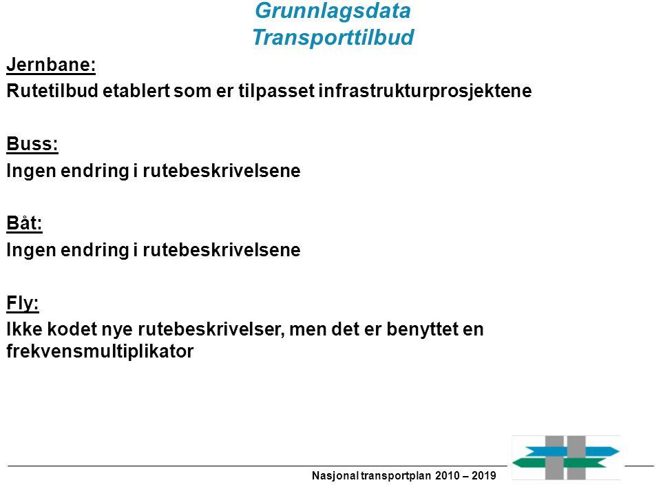 Nasjonal transportplan 2010 – 2019 Grunnlagsdata Transporttilbud Jernbane: Rutetilbud etablert som er tilpasset infrastrukturprosjektene Buss: Ingen e