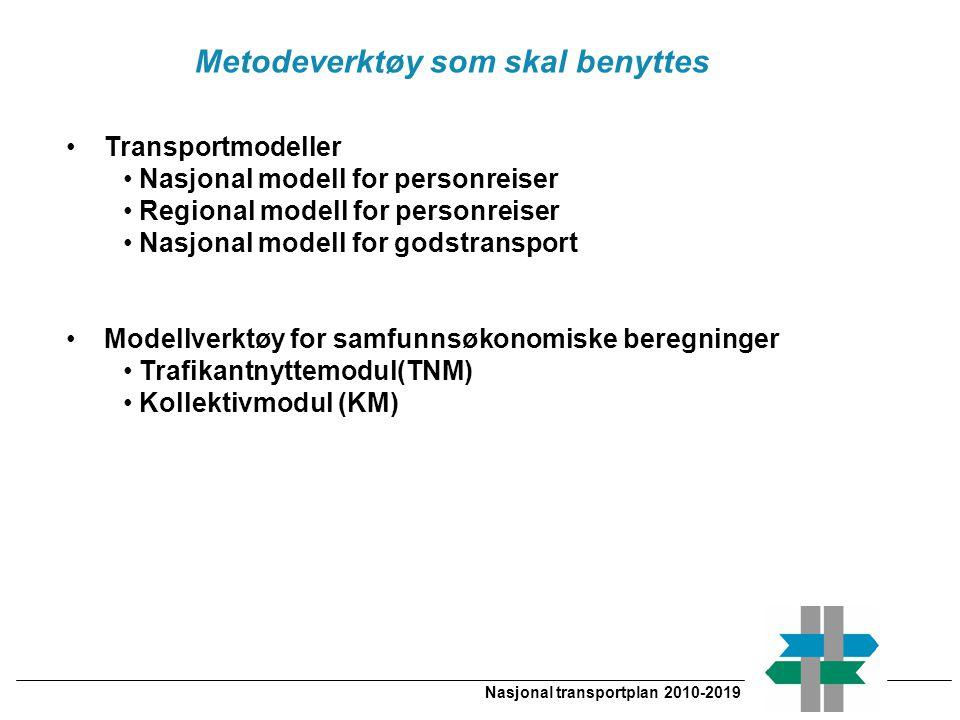 Nasjonal transportplan 2010-2019 Transportmodeller Nasjonal modell for personreiser Regional modell for personreiser Nasjonal modell for godstransport