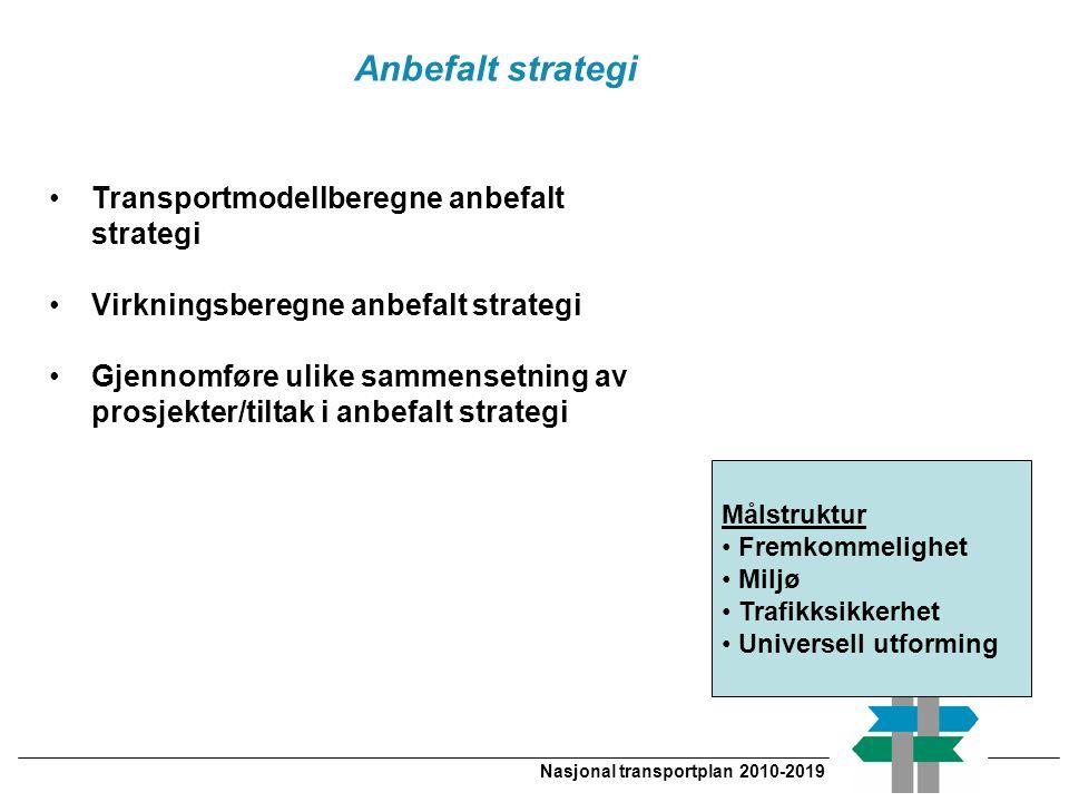 Nasjonal transportplan 2010-2019 Transportmodellberegne anbefalt strategi Virkningsberegne anbefalt strategi Gjennomføre ulike sammensetning av prosje