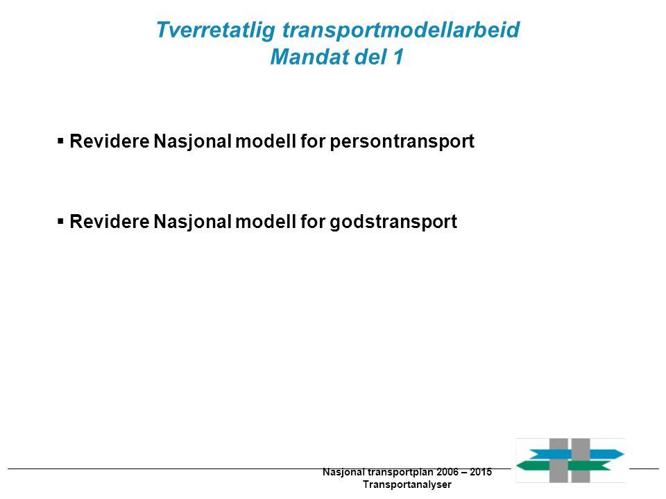 Nasjonal transportplan 2006 – 2015 Transportanalyser Tverretatlig transportmodellarbeid Mandat del 2  Etablere regionale modeller for persontransport  Integrere internasjonale-, nasjonale- og regionale modeller i en felles modellstruktur  Nyutviklet brukergrensesnitt  Vurdere integrasjon mellom virkningsberegningsverktøy og transportmodell