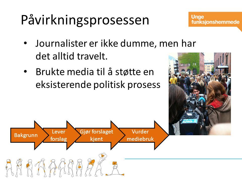 Vurder mediebruk Gjør forslaget kjent Påvirkningsprosessen Journalister er ikke dumme, men har det alltid travelt.