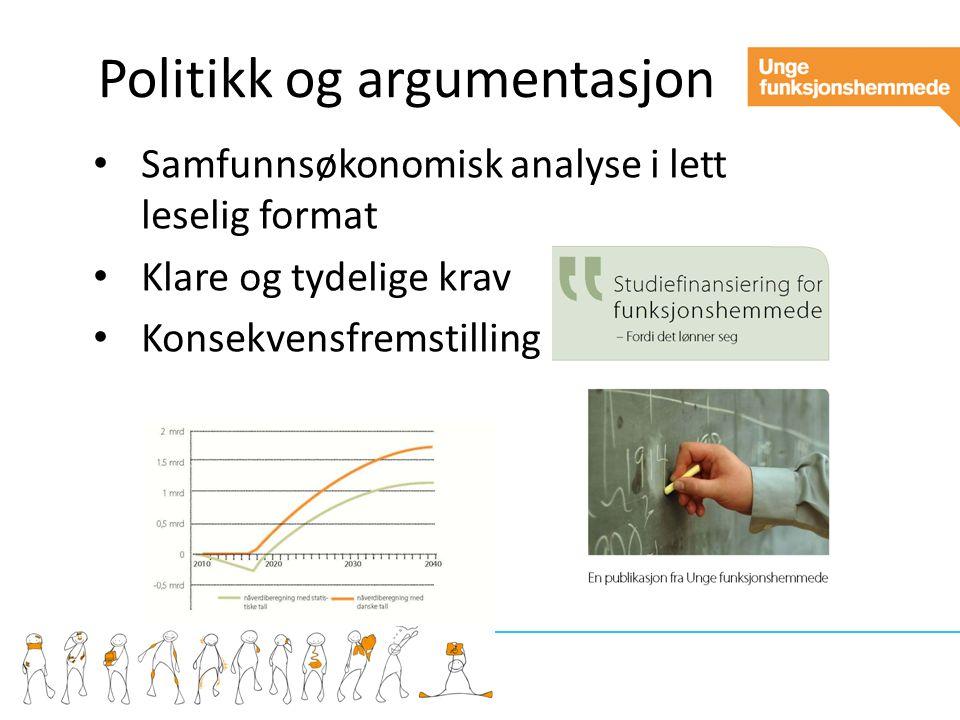 Politikk og argumentasjon Samfunnsøkonomisk analyse i lett leselig format Klare og tydelige krav Konsekvensfremstilling