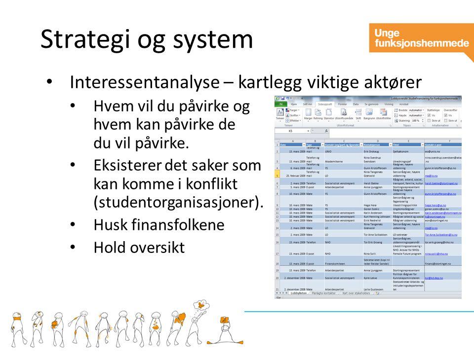 Strategi og system Interessentanalyse – kartlegg viktige aktører Hvem vil du påvirke og hvem kan påvirke de du vil påvirke.