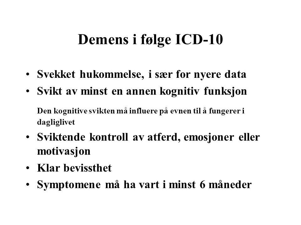 Demens i følge ICD-10 Svekket hukommelse, i sær for nyere data Svikt av minst en annen kognitiv funksjon Den kognitive svikten må influere på evnen ti