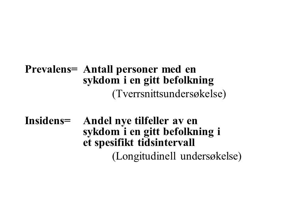 Prevalens=Antall personer med en sykdom i en gitt befolkning (Tverrsnittsundersøkelse) Insidens=Andel nye tilfeller av en sykdom i en gitt befolkning