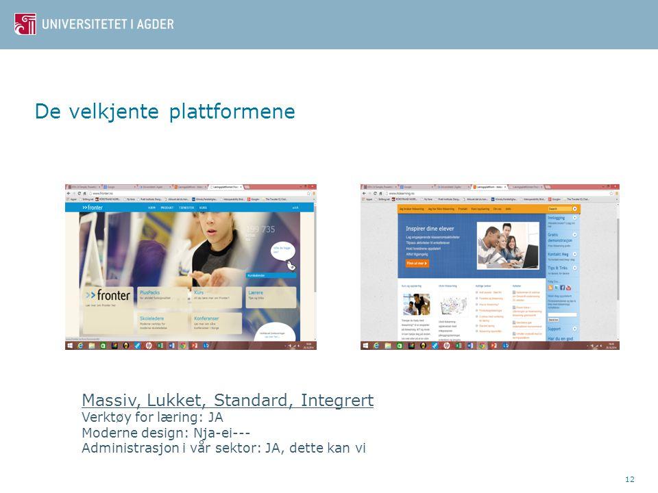 De velkjente plattformene 12 Massiv, Lukket, Standard, Integrert Verktøy for læring: JA Moderne design: Nja-ei--- Administrasjon i vår sektor: JA, dette kan vi