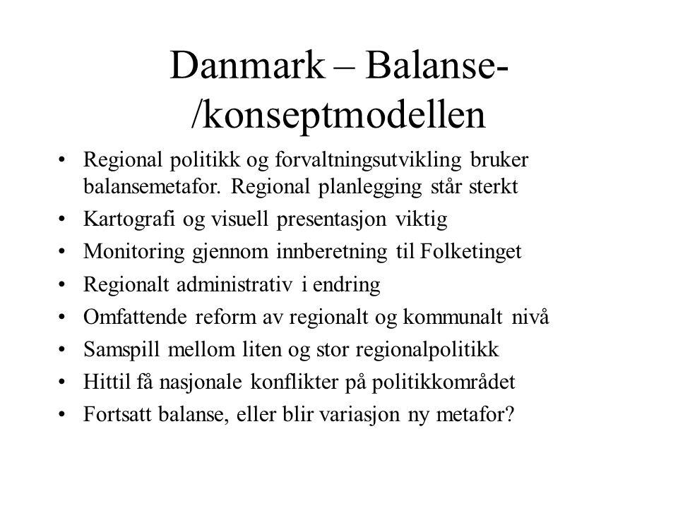 Danmark – Balanse- /konseptmodellen Regional politikk og forvaltningsutvikling bruker balansemetafor.
