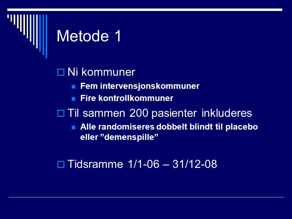 Metode 1  Ni kommuner Fem intervensjonskommuner Fire kontrollkommuner  Til sammen 200 pasienter inkluderes Alle randomiseres dobbelt blindt til placebo eller demenspille  Tidsramme 1/1-06 – 31/12-08