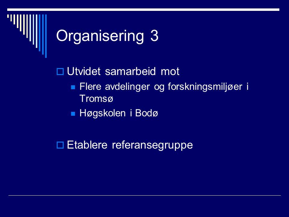 Organisering 3  Utvidet samarbeid mot Flere avdelinger og forskningsmiljøer i Tromsø Høgskolen i Bodø  Etablere referansegruppe
