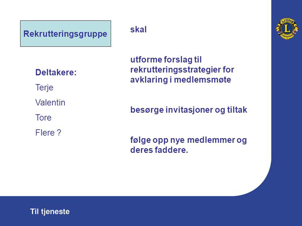 Rekrutteringsgruppe skal utforme forslag til rekrutteringsstrategier for avklaring i medlemsmøte besørge invitasjoner og tiltak følge opp nye medlemme