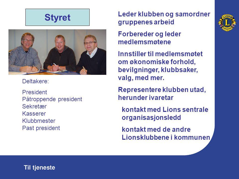 Styret Leder klubben og samordner gruppenes arbeid Forbereder og leder medlemsmøtene Innstiller til medlemsmøtet om økonomiske forhold, bevilgninger, klubbsaker, valg, med mer.