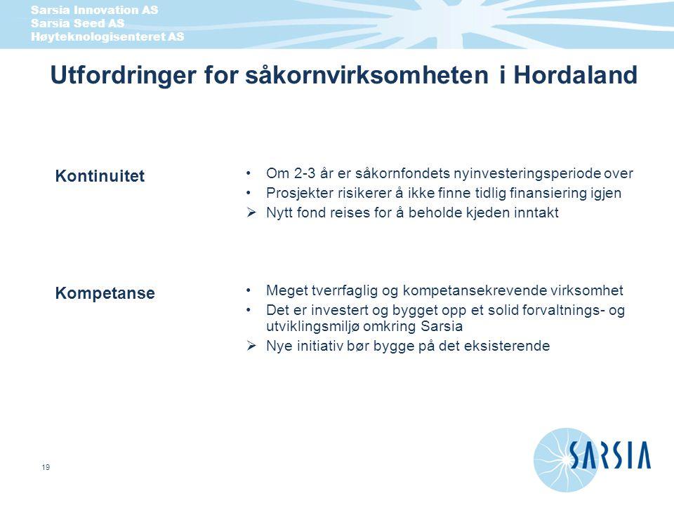 Sarsia Innovation AS Sarsia Seed AS Høyteknologisenteret AS 19 Utfordringer for såkornvirksomheten i Hordaland Om 2-3 å r er s å kornfondets nyinveste
