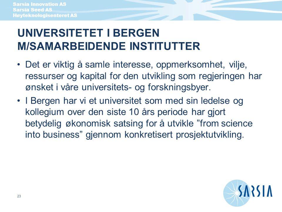 Sarsia Innovation AS Sarsia Seed AS Høyteknologisenteret AS 23 UNIVERSITETET I BERGEN M/SAMARBEIDENDE INSTITUTTER Det er viktig å samle interesse, opp