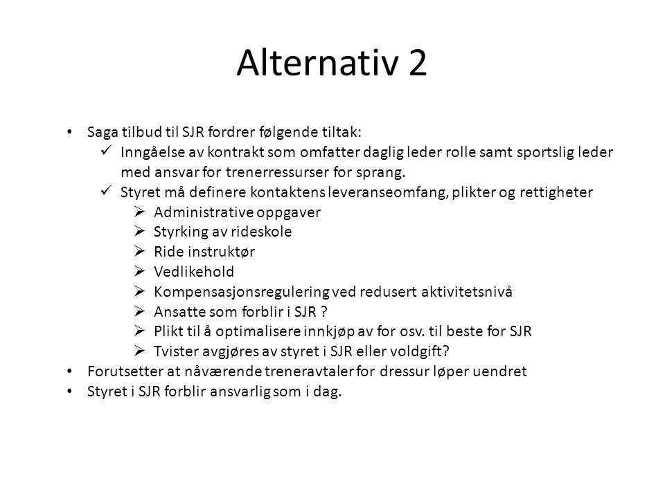 Alternativ 2 Saga tilbud til SJR fordrer følgende tiltak: Inngåelse av kontrakt som omfatter daglig leder rolle samt sportslig leder med ansvar for tr