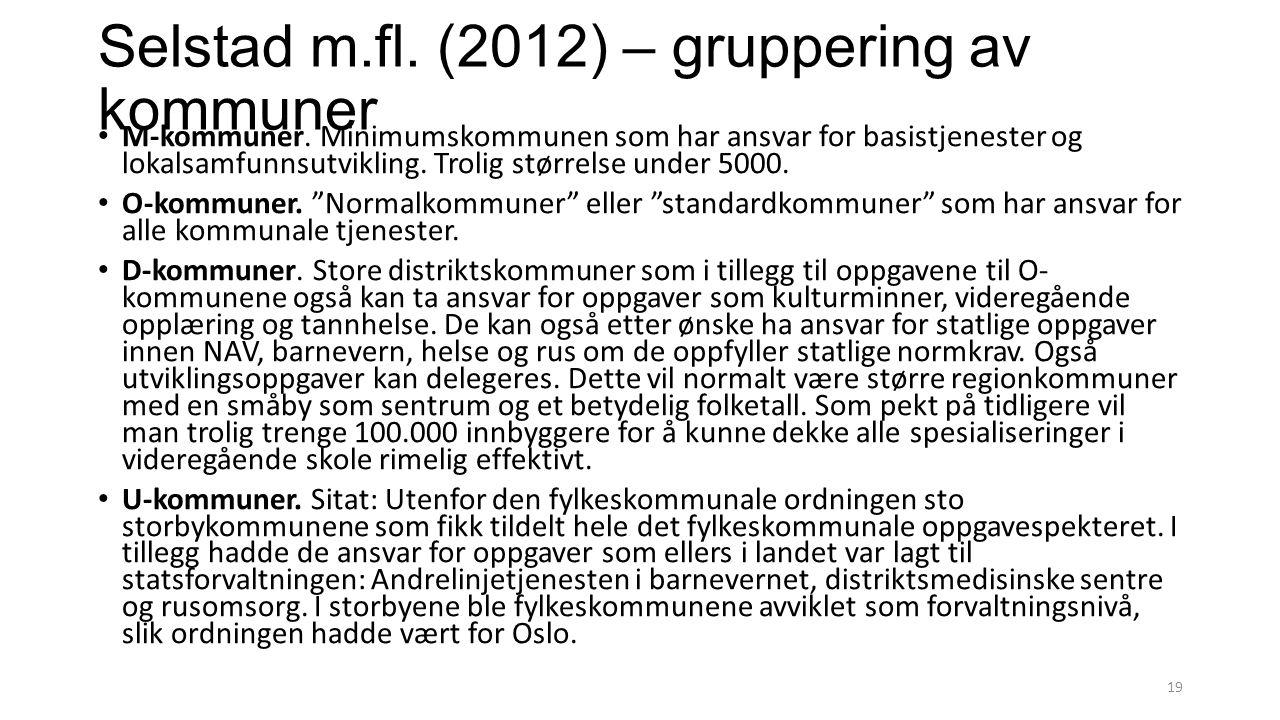Selstad m.fl. (2012) – gruppering av kommuner M-kommuner. Minimumskommunen som har ansvar for basistjenester og lokalsamfunnsutvikling. Trolig størrel