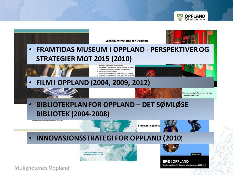 Mulighetenes Oppland FRAMTIDAS MUSEUM I OPPLAND - PERSPEKTIVER OG STRATEGIER MOT 2015 (2010) FILM I OPPLAND (2004, 2009, 2012) BIBLIOTEKPLAN FOR OPPLA