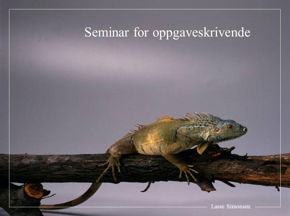 Lasse Simonsen Seminar for oppgaveskrivende