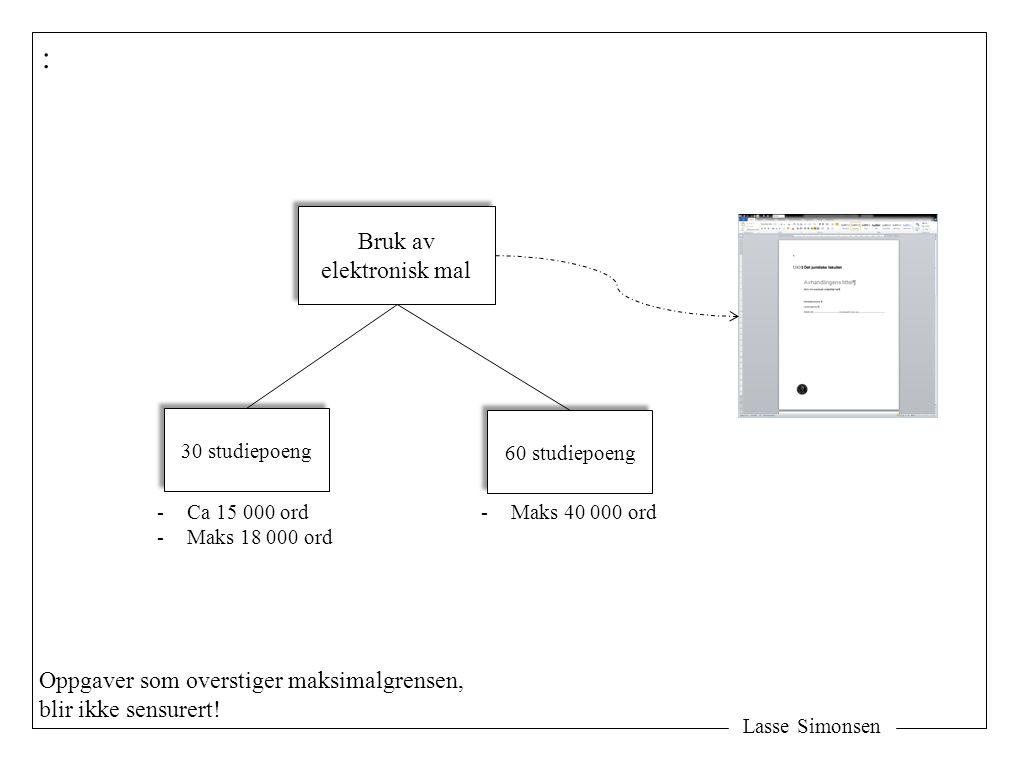 Lasse Simonsen : Bruk av elektronisk mal Bruk av elektronisk mal 30 studiepoeng 60 studiepoeng -Ca 15 000 ord -Maks 18 000 ord -Maks 40 000 ord Oppgav
