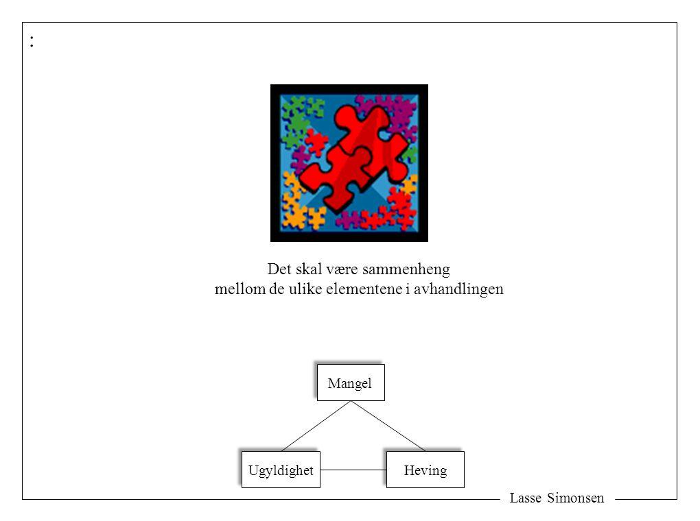 Lasse Simonsen : Det skal være sammenheng mellom de ulike elementene i avhandlingen Mangel Ugyldighet Heving