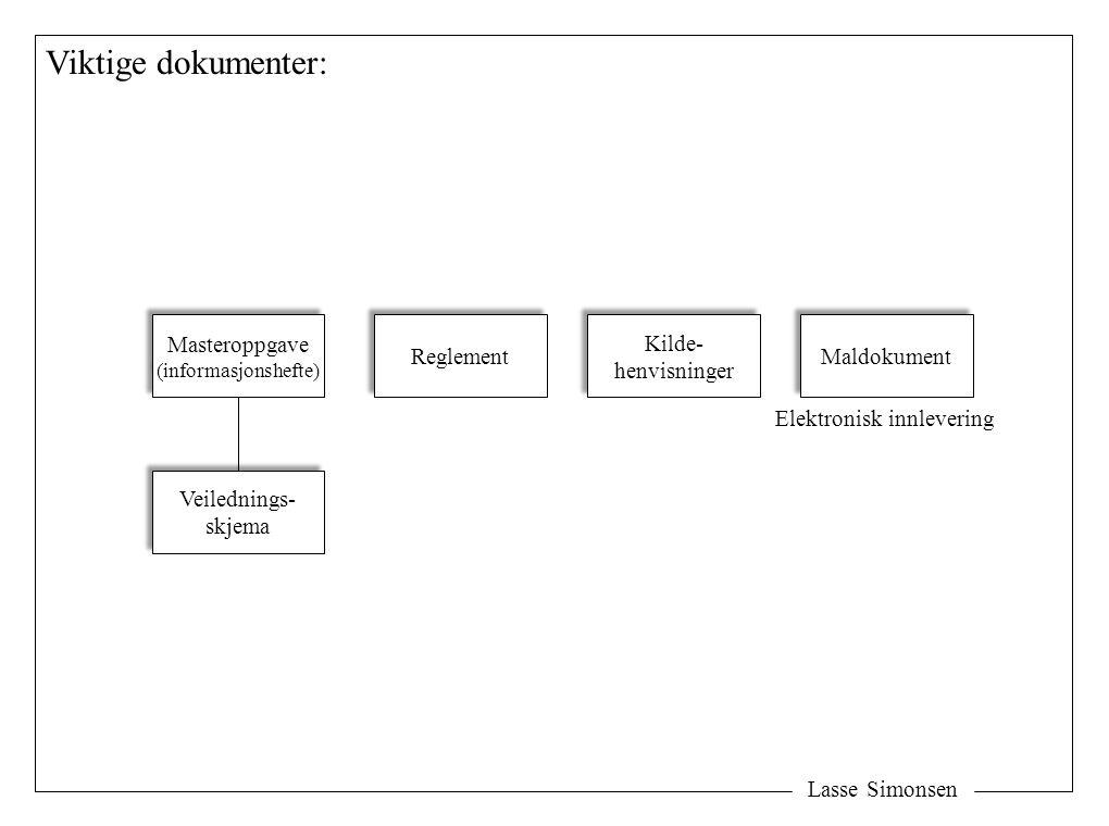 Lasse Simonsen Viktige dokumenter: Masteroppgave (informasjonshefte) Masteroppgave (informasjonshefte) Veilednings- skjema Veilednings- skjema Reglement Kilde- henvisninger Kilde- henvisninger Maldokument Elektronisk innlevering