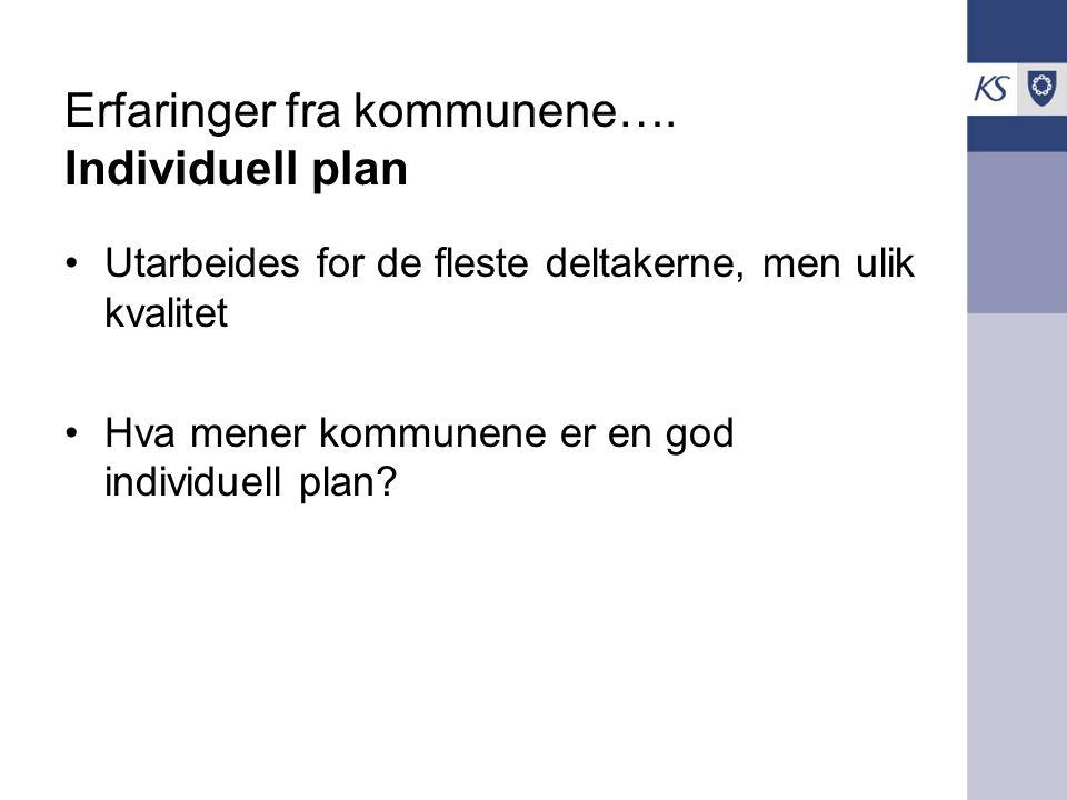 Erfaringer fra kommunene…. Individuell plan Utarbeides for de fleste deltakerne, men ulik kvalitet Hva mener kommunene er en god individuell plan?