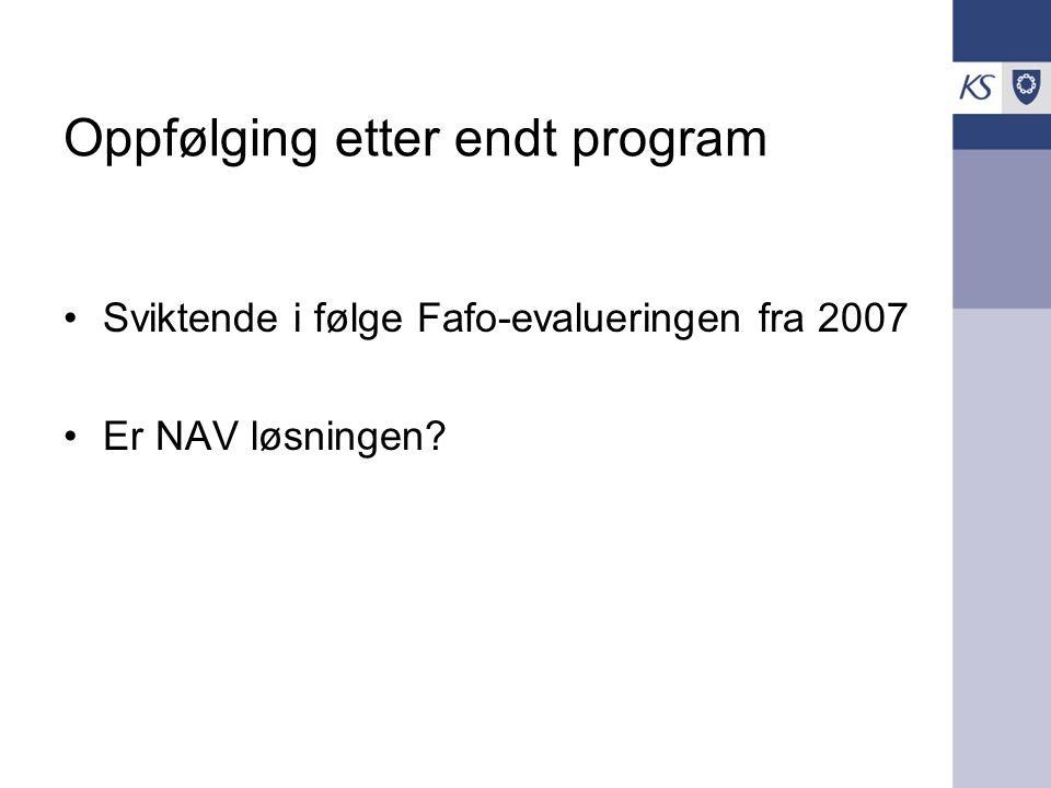 Oppfølging etter endt program Sviktende i følge Fafo-evalueringen fra 2007 Er NAV løsningen?
