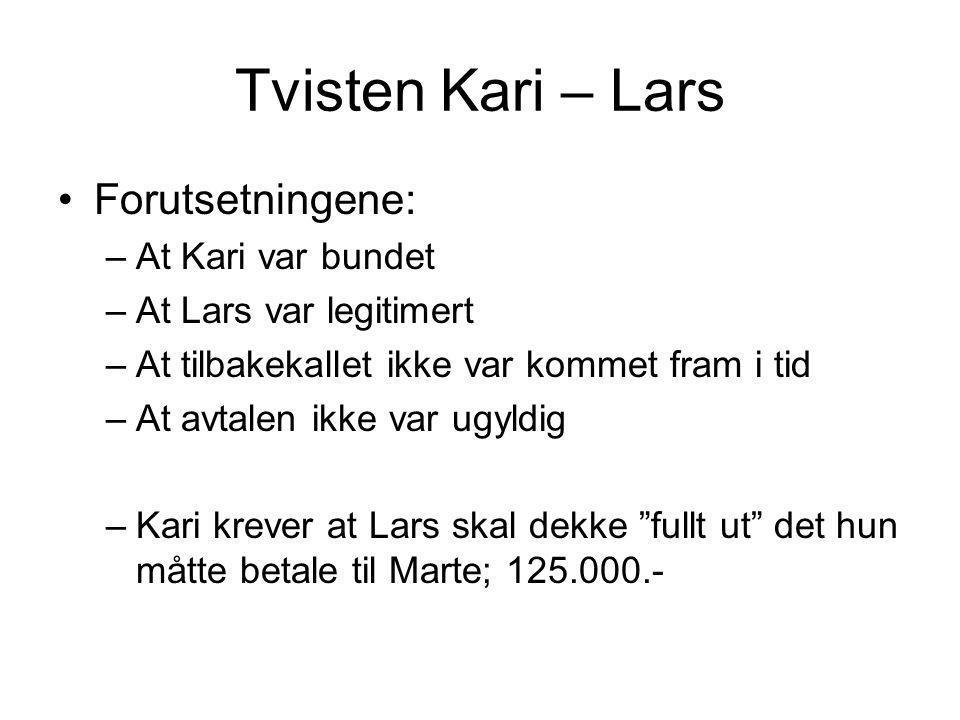Tvisten Kari – Lars Forutsetningene: –At Kari var bundet –At Lars var legitimert –At tilbakekallet ikke var kommet fram i tid –At avtalen ikke var ugy