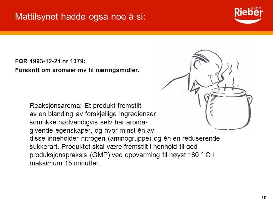 10 Mattilsynet hadde også noe å si: FOR 1993-12-21 nr 1379: Forskrift om aromaer mv til næringsmidler. Reaksjonsaroma: Et produkt fremstilt av en blan
