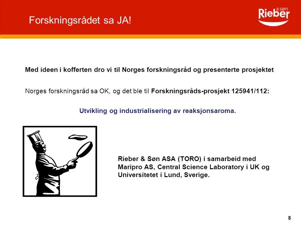 8 Med ideen i kofferten dro vi til Norges forskningsråd og presenterte prosjektet Norges forskningsråd sa OK, og det ble til Forskningsråds-prosjekt 1