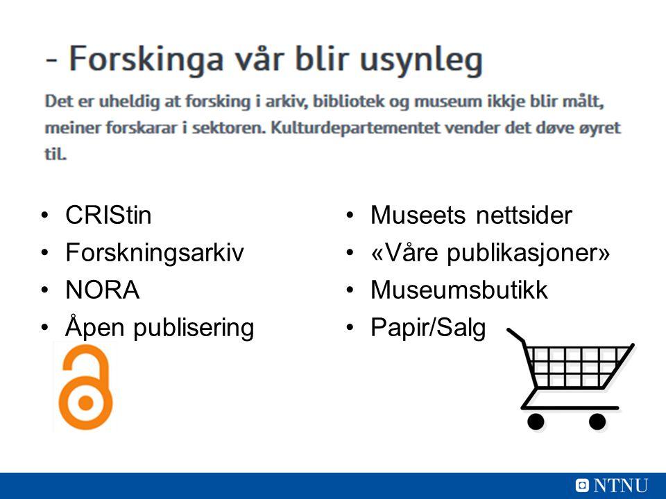 CRIStin Forskningsarkiv NORA Åpen publisering Museets nettsider «Våre publikasjoner» Museumsbutikk Papir/Salg