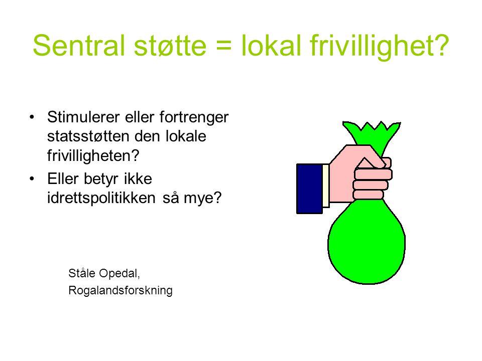 Sentral støtte = lokal frivillighet? Stimulerer eller fortrenger statsstøtten den lokale frivilligheten? Eller betyr ikke idrettspolitikken så mye? St