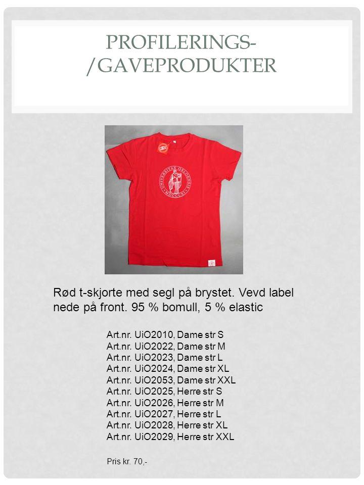 PROFILERINGS- /GAVEPRODUKTER Rød t-skjorte med segl på brystet. Vevd label nede på front. 95 % bomull, 5 % elastic Art.nr. UiO2010, Dame str S Art.nr.