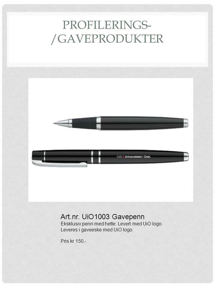 PROFILERINGS- /GAVEPRODUKTER Art.nr. UiO1003 Gavepenn Eksklusiv penn med hette. Levert med UiO logo. Leveres i gaveeske med UiO logo. Pris kr 150,-