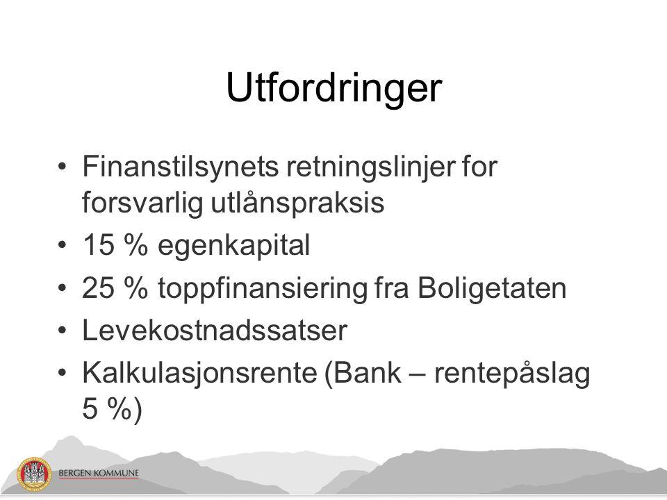 Utfordringer Finanstilsynets retningslinjer for forsvarlig utlånspraksis 15 % egenkapital 25 % toppfinansiering fra Boligetaten Levekostnadssatser Kalkulasjonsrente (Bank – rentepåslag 5 %)