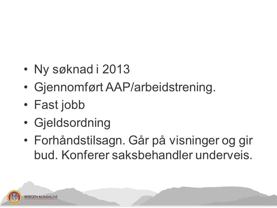 Ny søknad i 2013 Gjennomført AAP/arbeidstrening.Fast jobb Gjeldsordning Forhåndstilsagn.