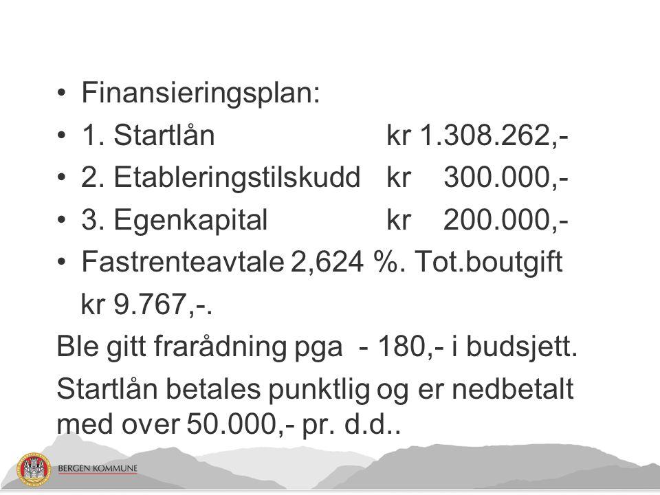 Finansieringsplan: 1.Startlån kr 1.308.262,- 2. Etableringstilskuddkr 300.000,- 3.