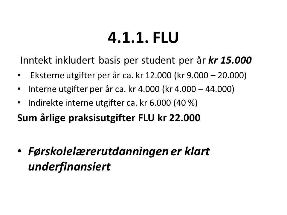 4.1.1. FLU Inntekt inkludert basis per student per år kr 15.000 Eksterne utgifter per år ca.