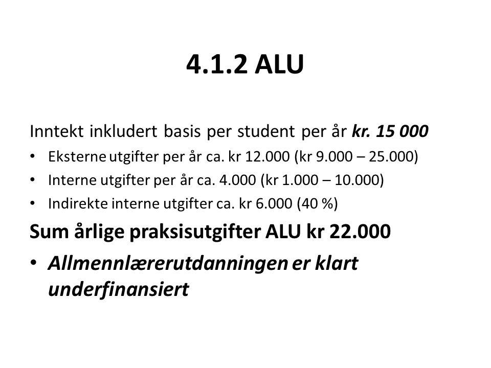 4.1.2 ALU Inntekt inkludert basis per student per år kr.