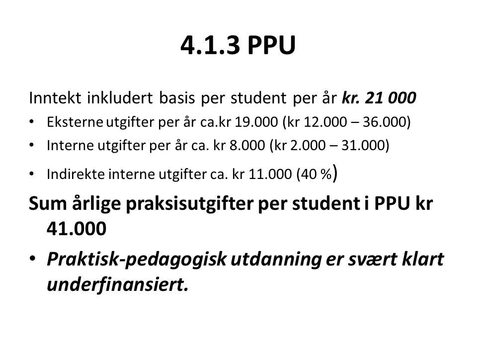 4.1.3 PPU Inntekt inkludert basis per student per år kr.
