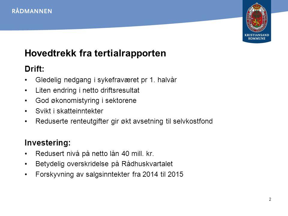 3 Forventet resultat 2014 I vedtatt budsjett er det budsjettert med korrigert netto driftsresultat på minus 10,9 millioner kroner.