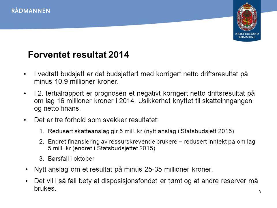 Skatteinngangen 2004-2014 sammenlignet med opprinnelig budsjett (i mill.