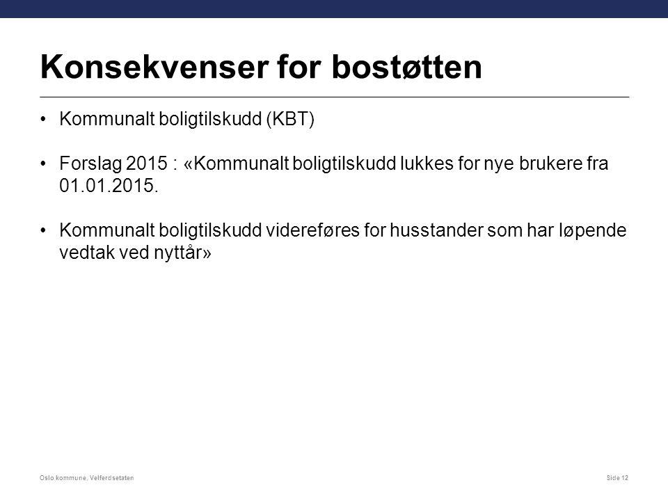 Konsekvenser for bostøtten Kommunalt boligtilskudd (KBT) Forslag 2015 : «Kommunalt boligtilskudd lukkes for nye brukere fra 01.01.2015. Kommunalt boli