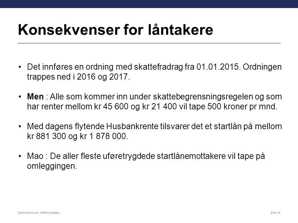 Konsekvenser for låntakere Oslo kommune, VelferdsetatenSide 14 Det innføres en ordning med skattefradrag fra 01.01.2015. Ordningen trappes ned i 2016