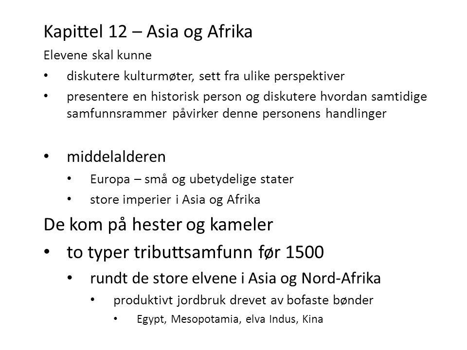 Kapittel 12 – Asia og Afrika Elevene skal kunne diskutere kulturmøter, sett fra ulike perspektiver presentere en historisk person og diskutere hvordan