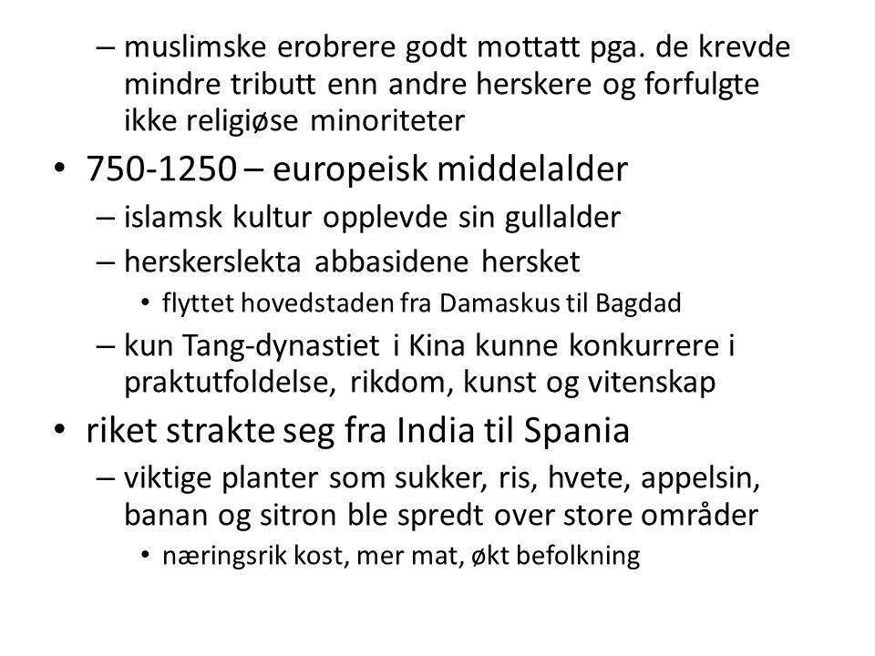 – muslimske erobrere godt mottatt pga. de krevde mindre tributt enn andre herskere og forfulgte ikke religiøse minoriteter 750-1250 – europeisk middel