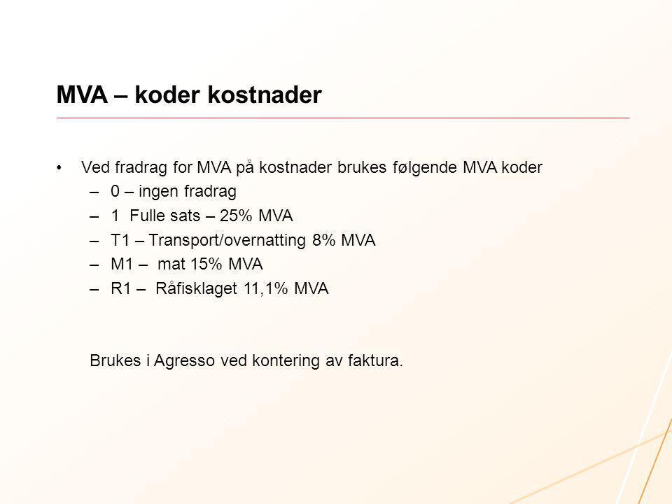 MVA – koder kostnader Ved fradrag for MVA på kostnader brukes følgende MVA koder –0 – ingen fradrag –1 Fulle sats – 25% MVA –T1 – Transport/overnattin
