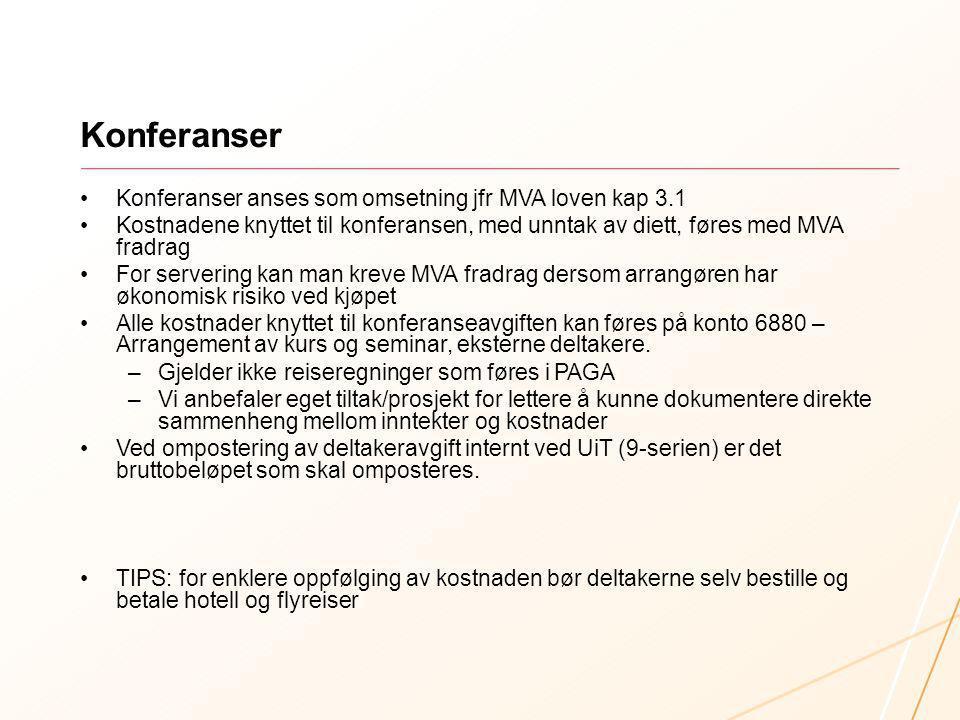 Konferanser Konferanser anses som omsetning jfr MVA loven kap 3.1 Kostnadene knyttet til konferansen, med unntak av diett, føres med MVA fradrag For s